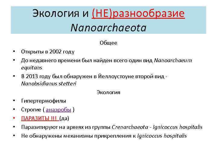 Экология и (НЕ)разнообразие Nanoarchaeota Общее • Открыты в 2002 году • До недавнего времени