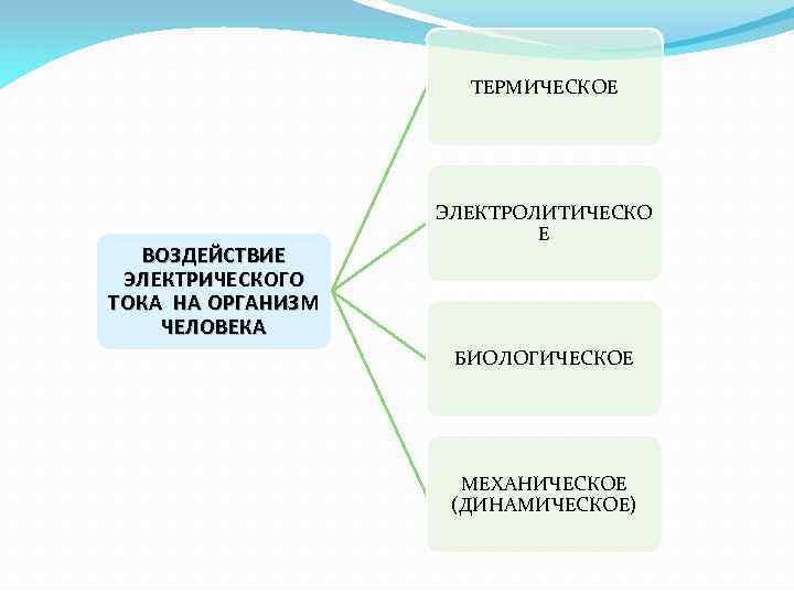 ТЕРМИЧЕСКОЕ ВОЗДЕЙСТВИЕ ЭЛЕКТРИЧЕСКОГО ТОКА НА ОРГАНИЗМ ЧЕЛОВЕКА ЭЛЕКТРОЛИТИЧЕСКО Е БИОЛОГИЧЕСКОЕ МЕХАНИЧЕСКОЕ (ДИНАМИЧЕСКОЕ)
