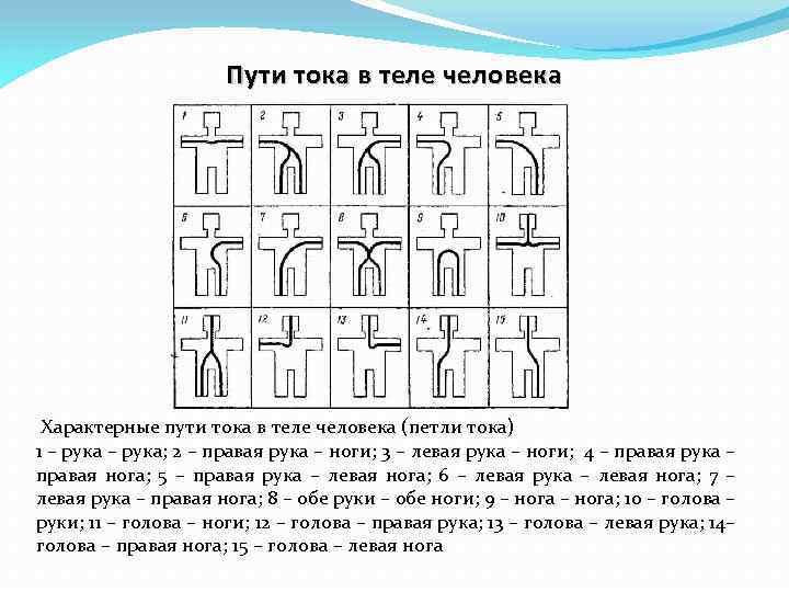 Пути тока в теле человека Характерные пути тока в теле человека (петли тока) 1
