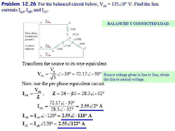 Problem 12. 26 For the balanced circuit below, Vab = 125 0 V. Find