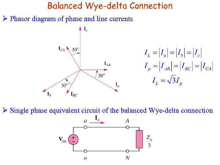 Balanced Wye-delta Connection Ø Phasor diagram of phase and line currents Ø Single phase
