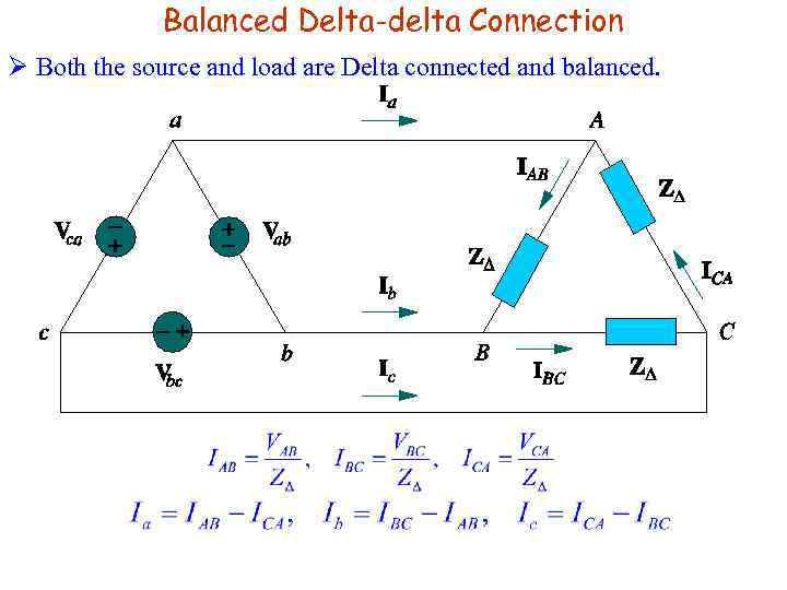 Balanced Delta-delta Connection Ø Both the source and load are Delta connected and balanced.