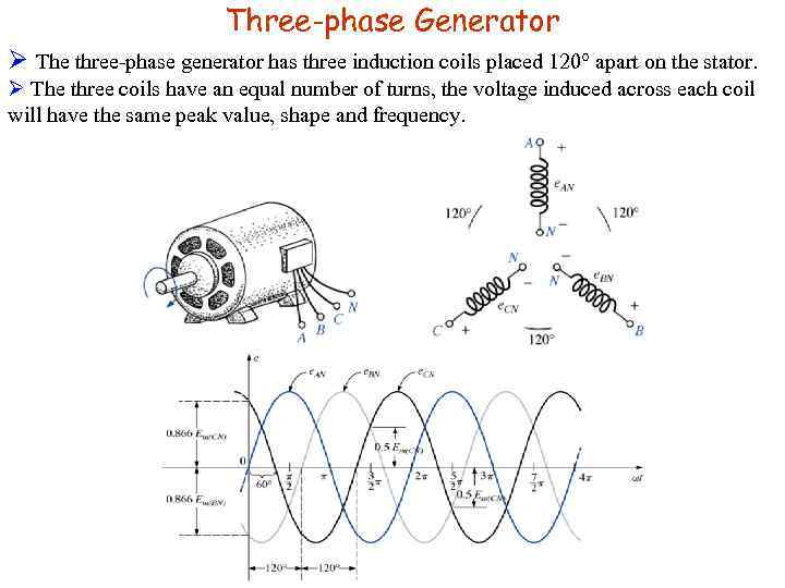 Three-phase Generator Ø The three-phase generator has three induction coils placed 120° apart on