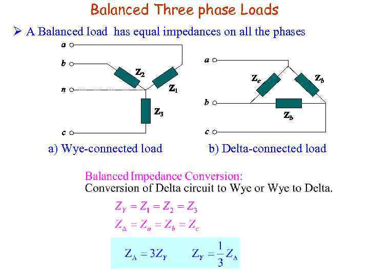 Balanced Three phase Loads Ø A Balanced load has equal impedances on all the