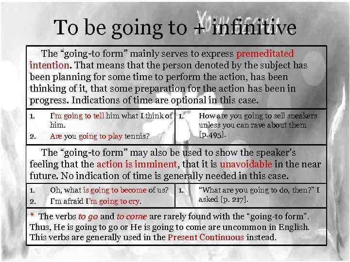 "To be going to + infinitive The ""going-to form"" mainly serves to express premeditated"