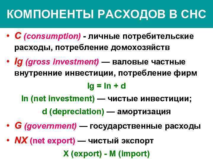 КОМПОНЕНТЫ РАСХОДОВ В СНС • С (consumption) - личные потребительские расходы, потребление домохозяйств •