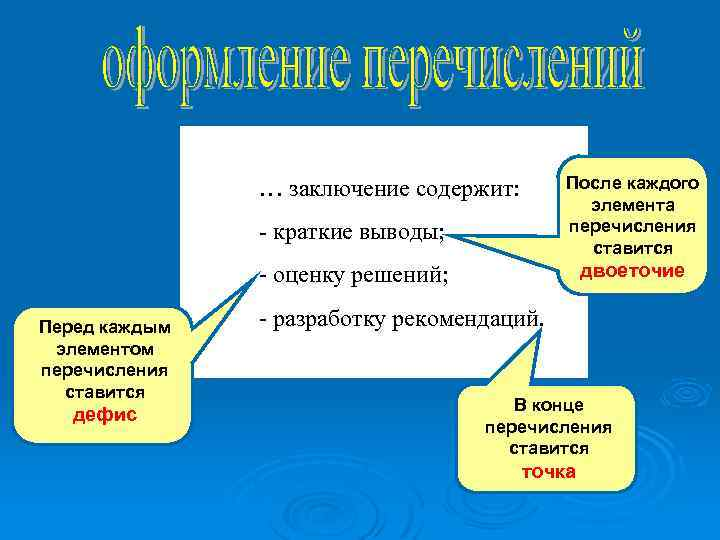 После каждого элемента перечисления ставится … заключение содержит: - краткие выводы; двоеточие - оценку