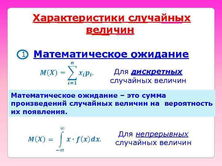 Характеристики случайных величин 1 Математическое ожидание Для дискретных случайных величин Математическое ожидание – это