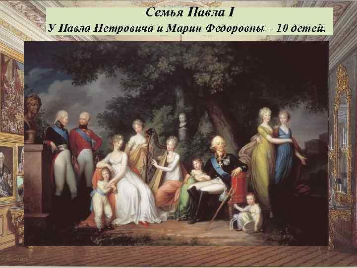 Семья Павла I У Павла Петровича и Марии Федоровны – 10 детей.