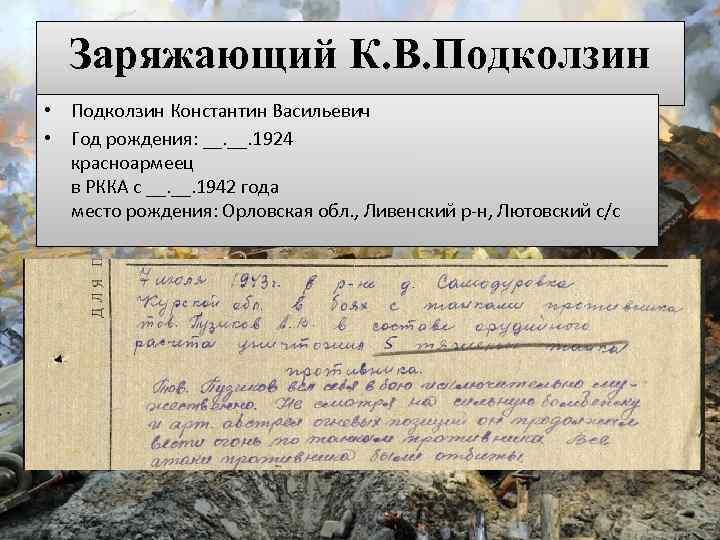 Заряжающий К. В. Подколзин • Подколзин Константин Васильевич • Год рождения: __. 1924 красноармеец
