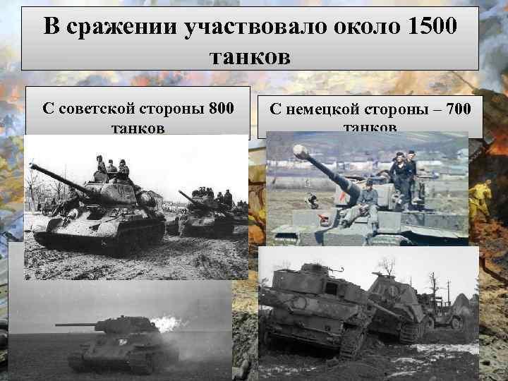В сражении участвовало около 1500 танков С советской стороны 800 танков С немецкой стороны
