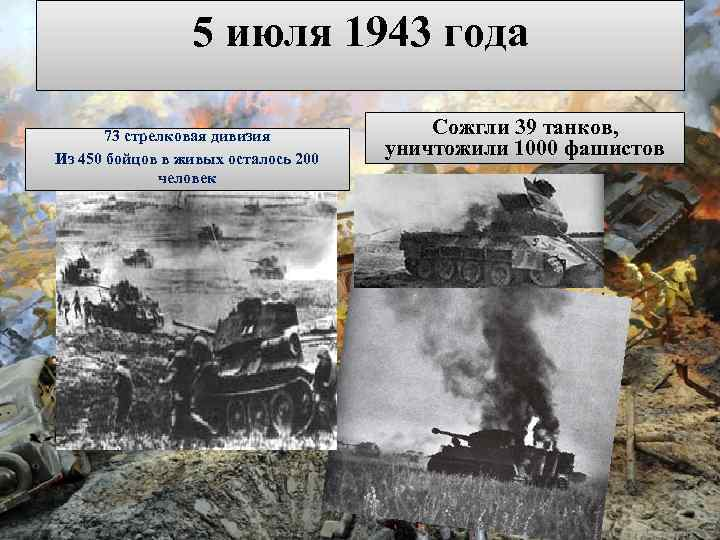 5 июля 1943 года 73 стрелковая дивизия Из 450 бойцов в живых осталось 200