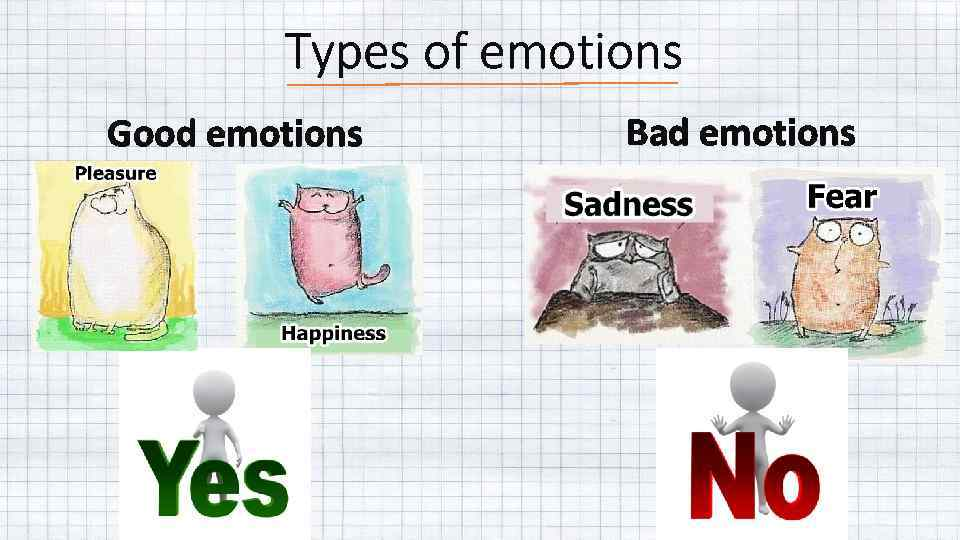 Types of emotions Good emotions Bad emotions