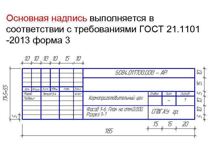 Основная надпись выполняется в соответствии с требованиями ГОСТ 21. 1101 -2013 форма 3