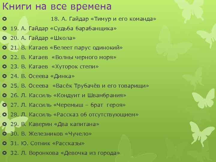 Книги на все времена 18. А. Гайдар «Тимур и его команда» 19. А. Гайдар
