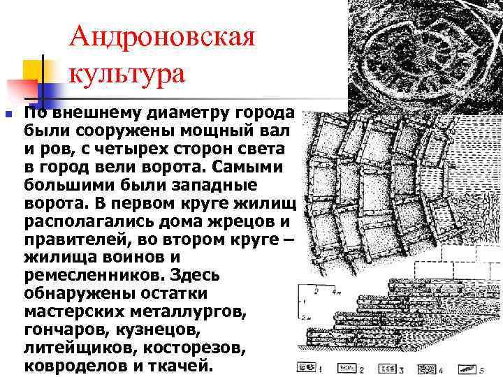 Андроновская культура n По внешнему диаметру города были сооружены мощный вал и ров, с
