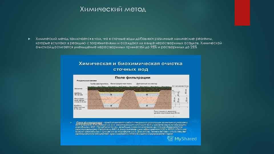 Химический метод заключается в том, что в сточные воды добавляют различные химические реагенты, которые
