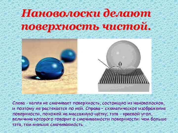 Нановолоски делают поверхность чистой. Слева - капля не смачивает поверхность, состоящую из нановолосков, и