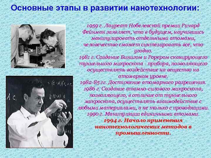 Основные этапы в развитии нанотехнологии: 1959 г. Лауреат Нобелевской премии Ричард Фейнман заявляет, что