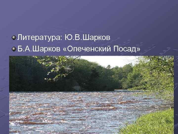 Литература: Ю. В. Шарков Б. А. Шарков «Опеченский Посад»