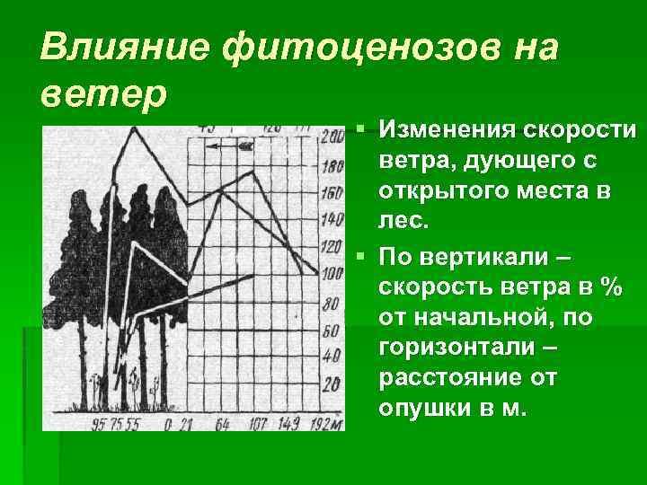 Влияние фитоценозов на ветер § Изменения скорости ветра, дующего с открытого места в лес.