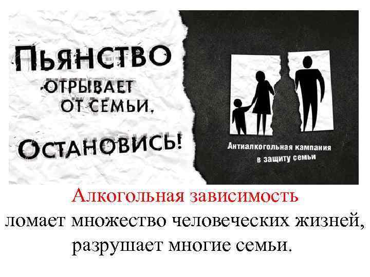 Алкогольная зависимость ломает множество человеческих жизней, разрушает многие семьи.