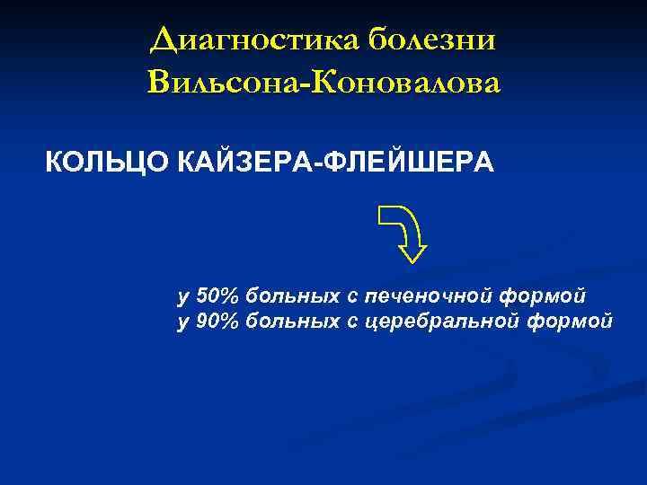 Диагностика болезни Вильсона-Коновалова КОЛЬЦО КАЙЗЕРА-ФЛЕЙШЕРА у 50% больных с печеночной формой у 90% больных