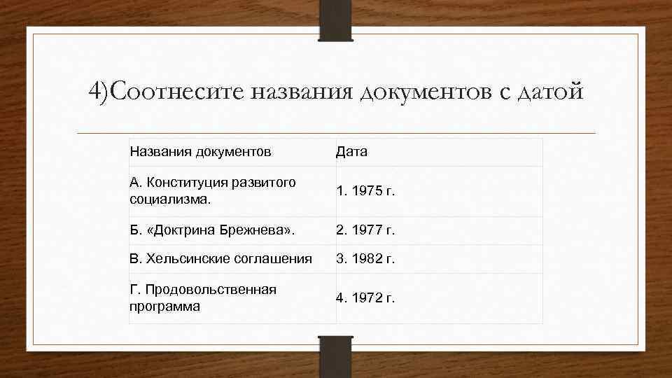 4)Соотнесите названия документов с датой Названия документов Дата А. Конституция развитого социализма. 1. 1975