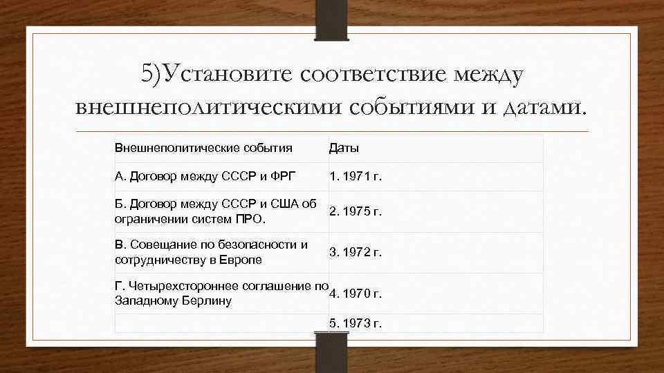 5)Установите соответствие между внешнеполитическими событиями и датами. Внешнеполитические события Даты А. Договор между СССР