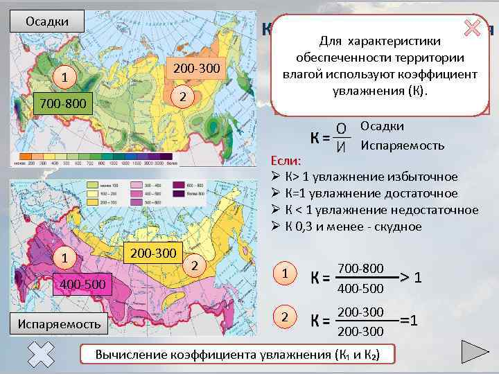 Осадки Коэффициент увлажнения Для характеристики 200 -300 1 2 700 -800 обеспеченности территории Коэффициент