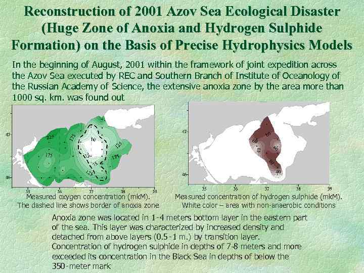 Reconstruction of 2001 Azov Sea Ecological Disaster (Huge Zone of Anoxia and Hydrogen Sulphide