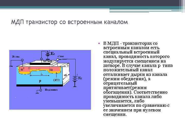 МДП транзистор со встроенным каналом • В МДП - транзисторах со встроенным каналом есть