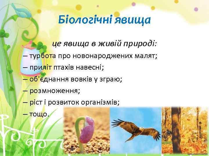 Біологічні явища це явища в живій природі: – турбота про новонароджених малят; – приліт