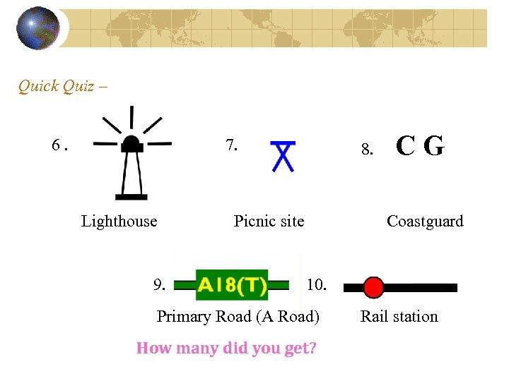 Quick Quiz – 6. 7. Lighthouse 9. 8. Picnic site CG Coastguard 10. Primary