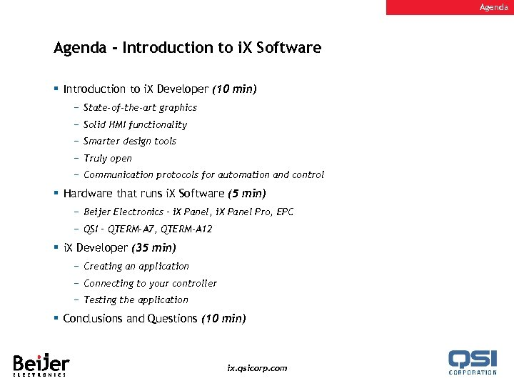 Agenda - Introduction to i. X Software § Introduction to i. X Developer (10