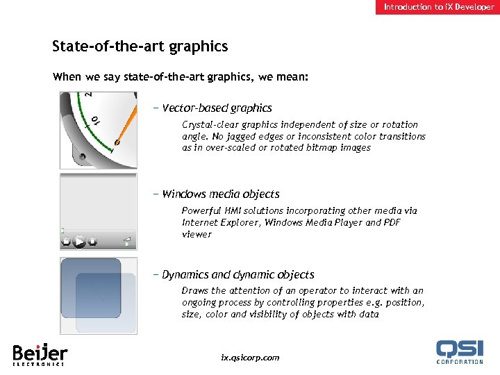 Introduction to i. X Developer State-of-the-art graphics When we say state-of-the-art graphics, we mean: