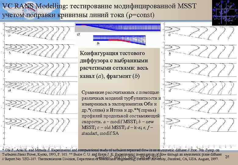 VC RANS Modelling: тестирование модифицированной MSST учетом поправки кривизны линий тока ( =const) с