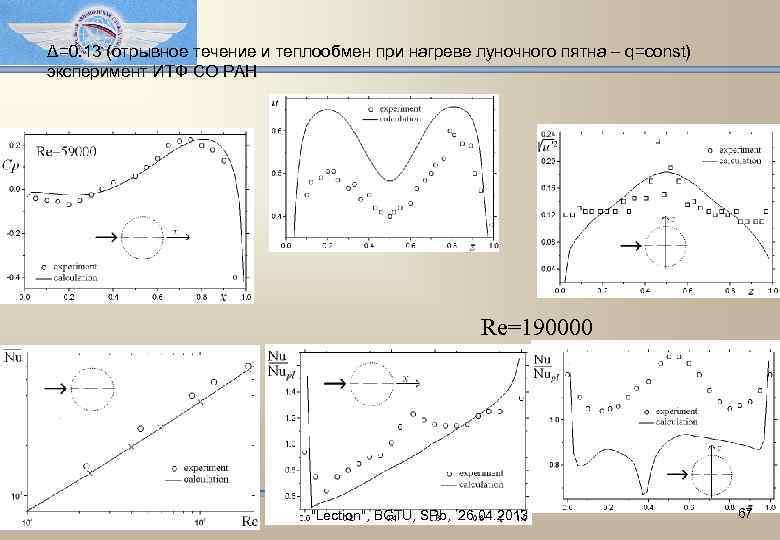 Δ=0. 13 (отрывное течение и теплообмен при нагреве луночного пятна – q=const) эксперимент ИТФ
