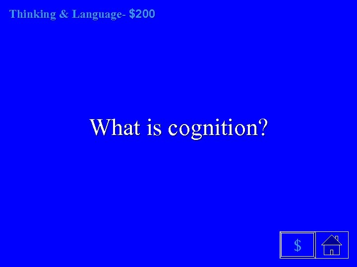 Thinking & Language- $200 What is cognition? $