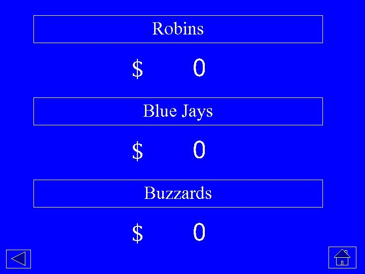 Robins $ Blue Jays $ Buzzards $