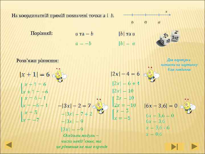На координатній прямій позначені точки a і b. Порівняй: Розв'яжи рівняння: Оскільки модуль –