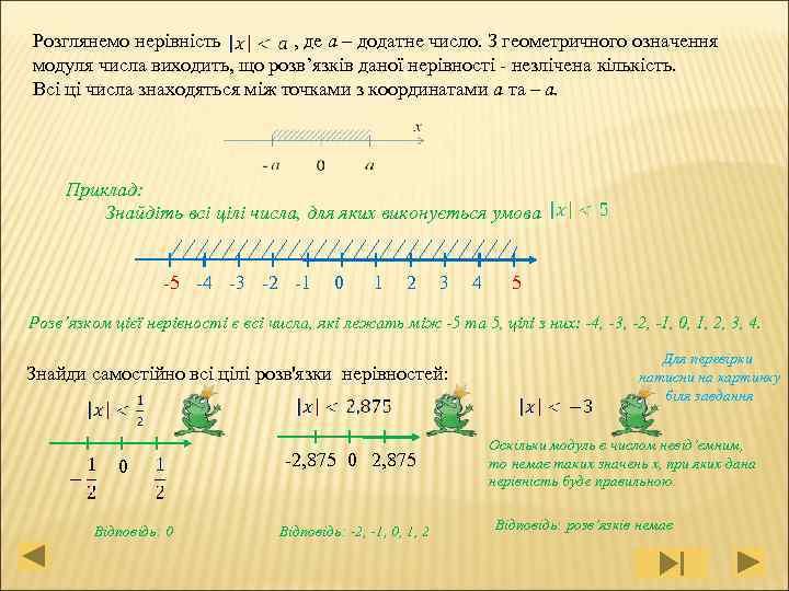 , де a – додатне число. З геометричного означення Розглянемо нерівність модуля числа виходить,