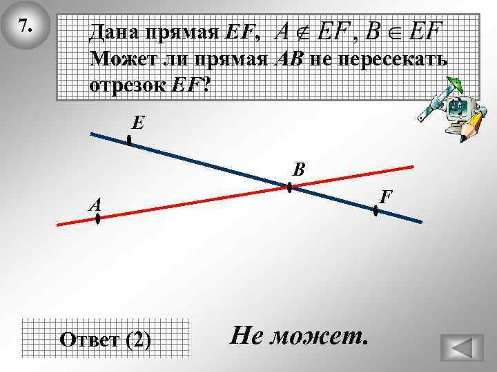 7. Дана прямая EF, Может ли прямая АВ не пересекать отрезок EF? Е В