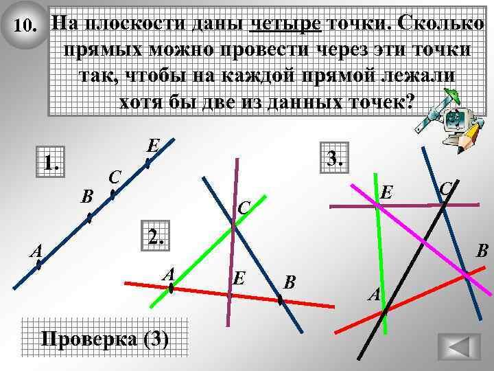 10. На плоскости даны четыре точки. Сколько прямых можно провести через эти точки так,