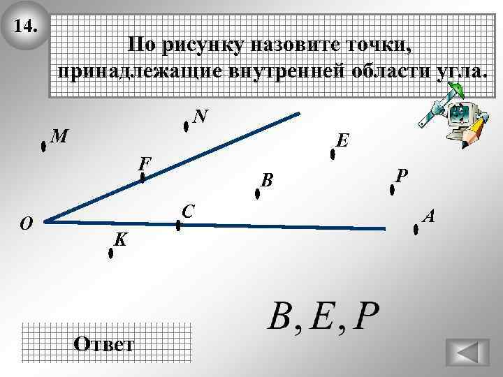 14. По рисунку назовите точки, принадлежащие внутренней области угла. N М E F О