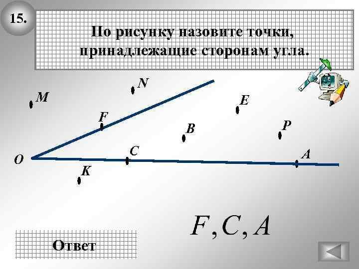 15. По рисунку назовите точки, принадлежащие сторонам угла. N М E F О В
