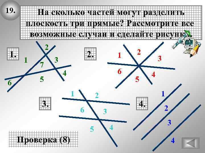 19. 1. 6 На сколько частей могут разделить плоскость три прямые? Рассмотрите все возможные