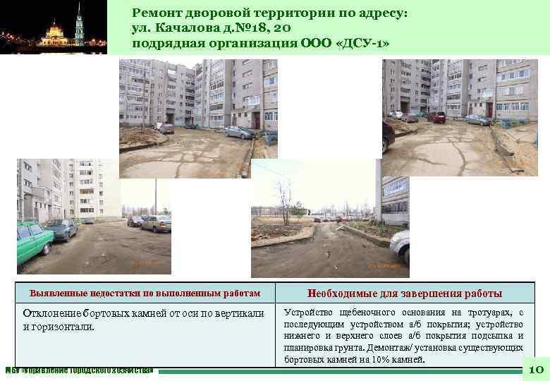 Ремонт дворовой территории по адресу: ул. Качалова д. № 18, 20 подрядная организация ООО
