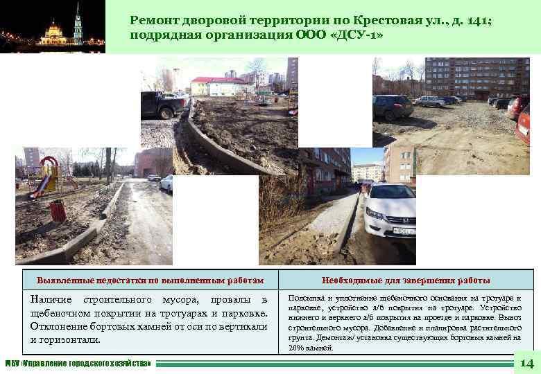 Ремонт дворовой территории по Крестовая ул. , д. 141; подрядная организация ООО «ДСУ-1» Выявленные