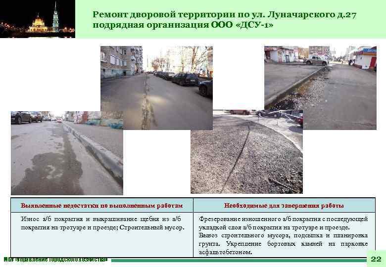 Ремонт дворовой территории по ул. Луначарского д. 27 подрядная организация ООО «ДСУ-1» Выявленные недостатки